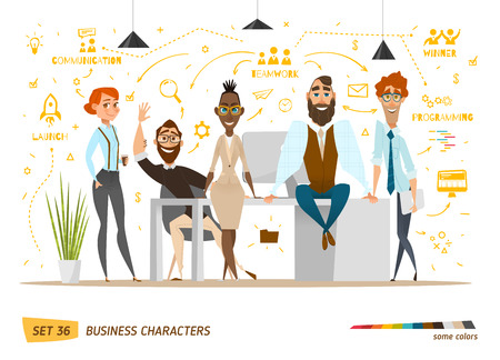 manager cartoon: Business characters scene. Teamwork in modern business office