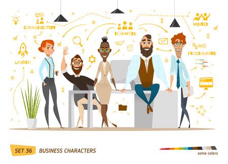 Business-Zeichen-Szene. Teamwork in der modernen Business-Büro Standard-Bild - 55159522