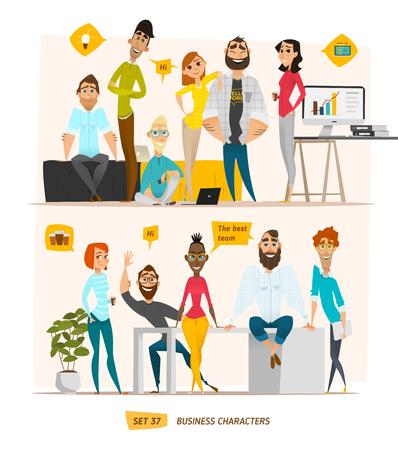 donna ricca: scena personaggi commerciali. Lavoro di squadra in ufficio moderno business
