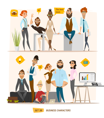 gente trabajando: escena personajes de negocio. El trabajo en equipo en la oficina de negocios moderno