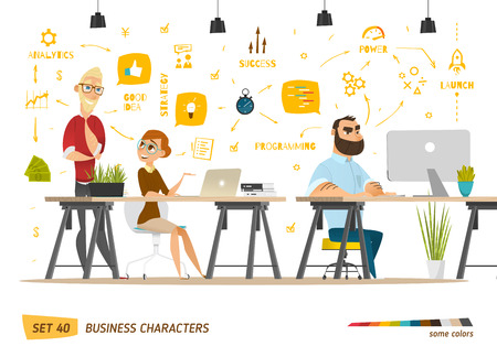 Business characters scene. Teamwork in modern business office Фото со стока - 55160892