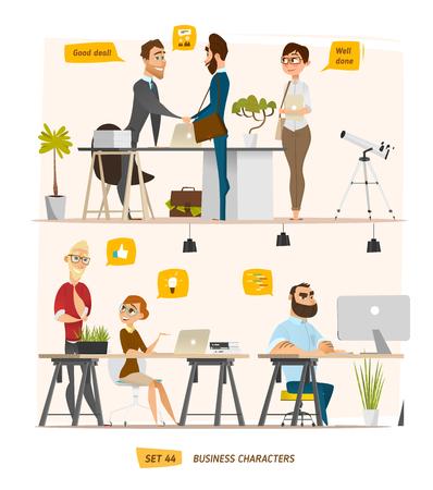 Business-Zeichen-Szene. Teamwork in der modernen Business-Büro