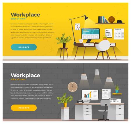 Web デザインのための 2 つのバナーです。Office テーマです。EPS 10