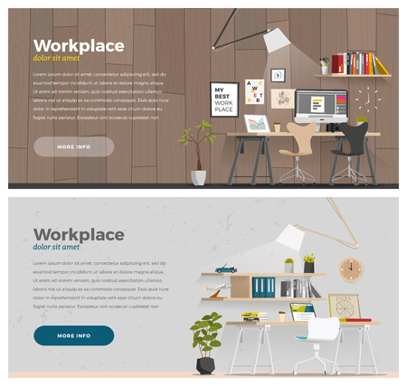 indoors: Two banner for web design. Office theme. EPS 10