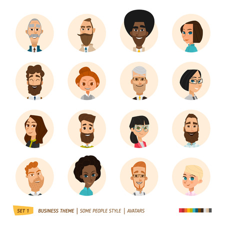 style: Business cartoon characters avatars collection. EPS 10