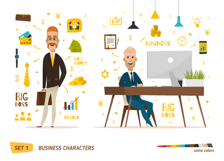 business scene: Business characters scene. Teamwork in modern business office