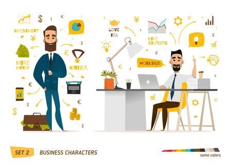 beard man: Business characters scene. Teamwork in modern business office