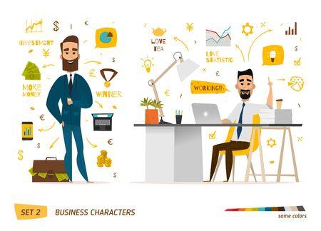 computadora caricatura: escena personajes de negocio. El trabajo en equipo en la oficina de negocios moderno