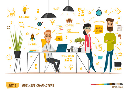 Business characters scene. Teamwork in modern business office 免版税图像 - 55164403