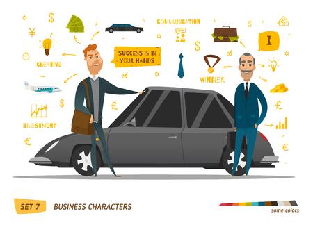 ビジネスのキャラクターのシーン。車の近くの豊かな人々。EPS 10  イラスト・ベクター素材