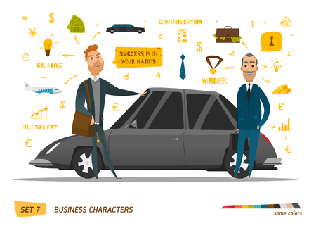 Business characters scene. Rich peoples near car. EPS 10