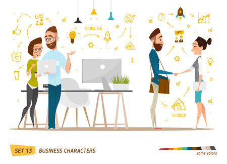 business time: Business characters scene. Teamwork in modern business office