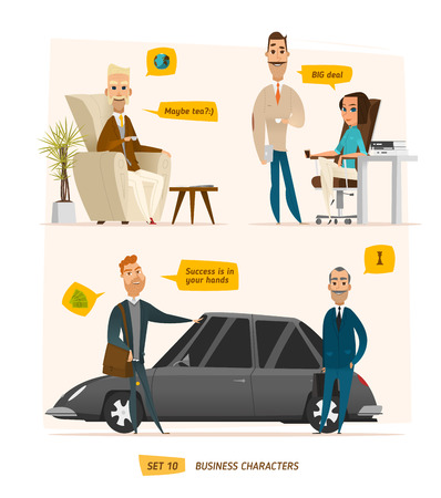Business characters scene. Rich peoples near car. Some office scene