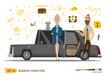 riches: Business characters scene. Rich peoples near car. EPS 10