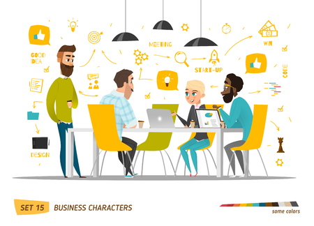 ビジネスのキャラクターのシーン。現代のビジネス オフィスのチームワーク