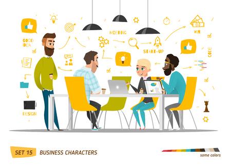 escena personajes de negocio. El trabajo en equipo en la oficina de negocios moderno