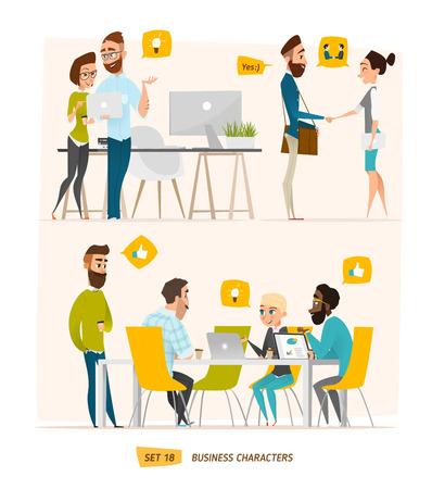 manager: escena personajes de negocio. El trabajo en equipo en la oficina de negocios moderno