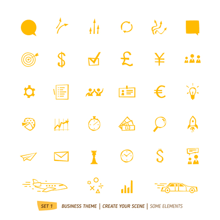 business scene: Business icons collection for your business scene Illustration