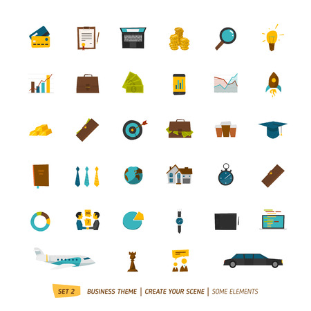 Business icons collection for your business scene Çizim