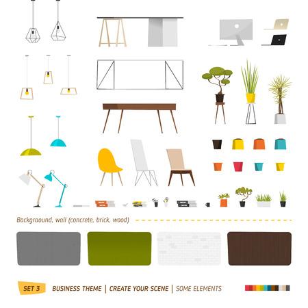 ビジネス要素。あなたのシーンを作成します。オフィス用家具  イラスト・ベクター素材