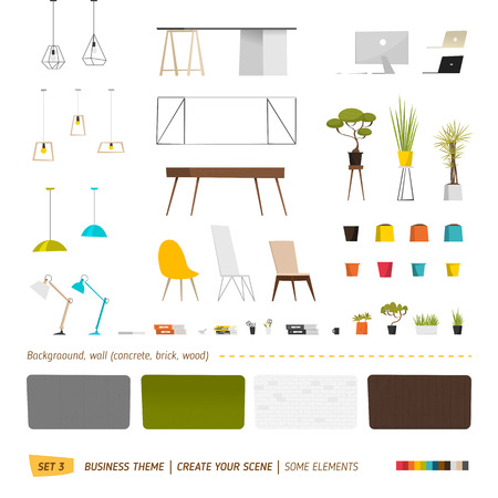 grass flower: Business elements. Create your scene. Office furniture