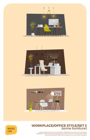modern interior: Some modern office style. Interior design. EPS 10 Illustration