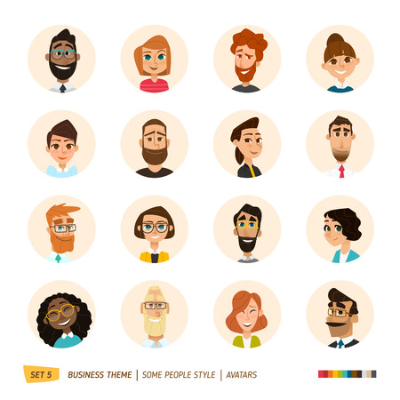 beard woman: Cartoon business people avatars set.
