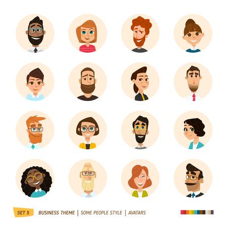 mulher: homens de negócios dos desenhos animados avatares definido. Ilustração
