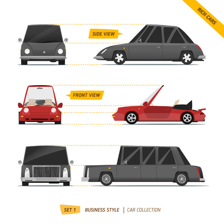 Rich cars views collection. Black and red automobiles Illustration