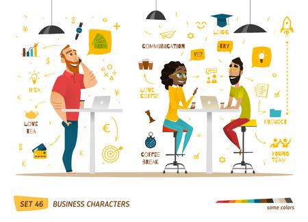 gestion empresarial: Colección de caracteres de negocios. Algunos situación en el trabajo.