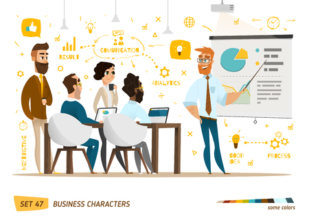 communication: Business characters collection. Some situation in work.