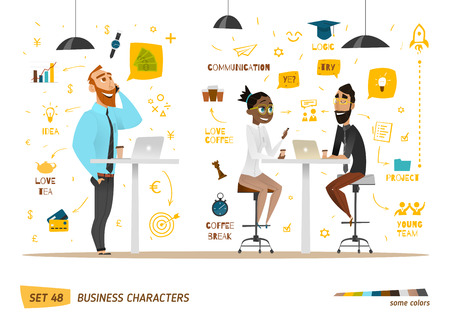 communication icons: Business characters collection. Some situation in work.
