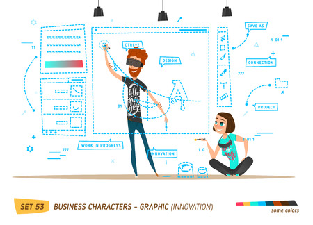 Innovation business style. Work in progress. Design innovation Illustration