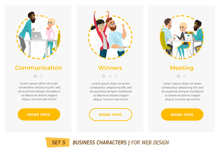coffee company: Business characters set. Banners for your web design in business style