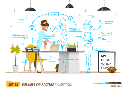 conversations: Innovation business style in office situation. Business communication in future. Illustration