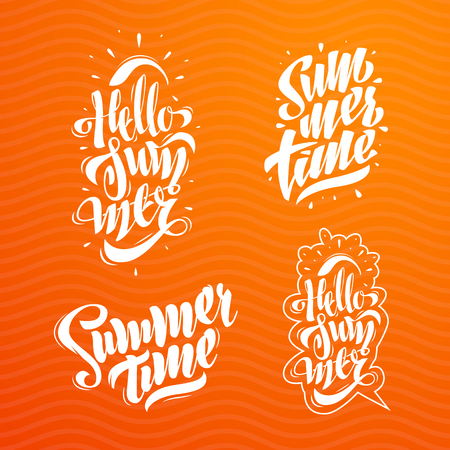 Summer Lettering Set. Some Creative Compositions For Your Projects.