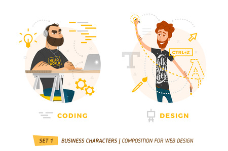office team: Design Elements For Web Construction. Business Theme in Cartoon Style