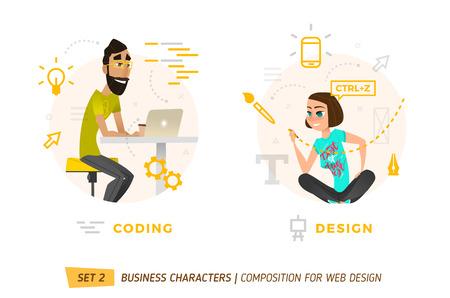 Web 構築のデザイン要素です。漫画のスタイルのビジネス テーマ