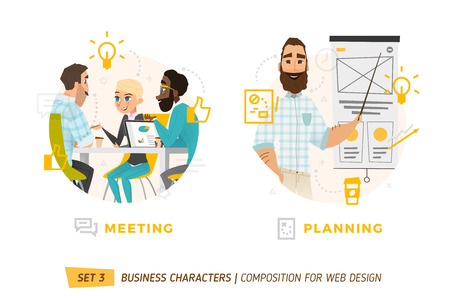 Design Elements For Web Construction. Business Theme in Cartoon Style Фото со стока - 60708421