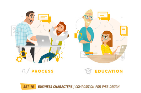 Business characters in circle. Elements for web design. Stock Illustratie