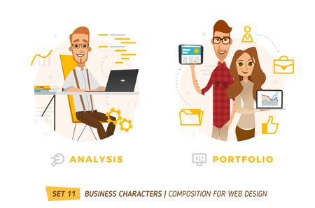 Business characters in circle. Elements for web design. Illusztráció