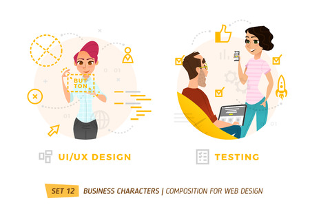 Business characters in circle. Elements for web design. Ilustração