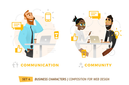 Business characters in circle. Elements for web design. Vectores