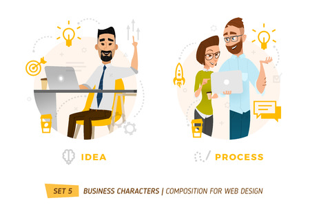 business team: Business characters in circle. Elements for web design. Illustration