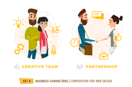 Business characters in circle. Elements for web design. Illustration