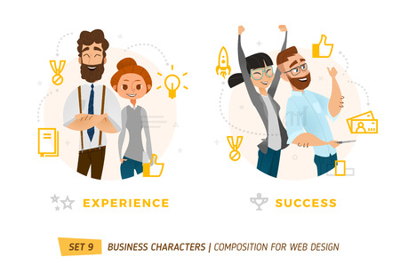 Business characters in circle. Elements for web design. Çizim