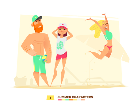 Time to play. Funny summer characters in cartoon style Illustration