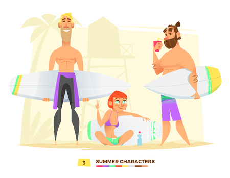 sunbath: Summer characters. Surfing style. Sport time in this summer Illustration