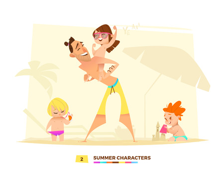 Summer characters. Time to play. The daughter of his father back