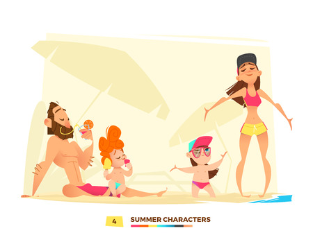 Summer characters. Family time on the beach. Happy moment